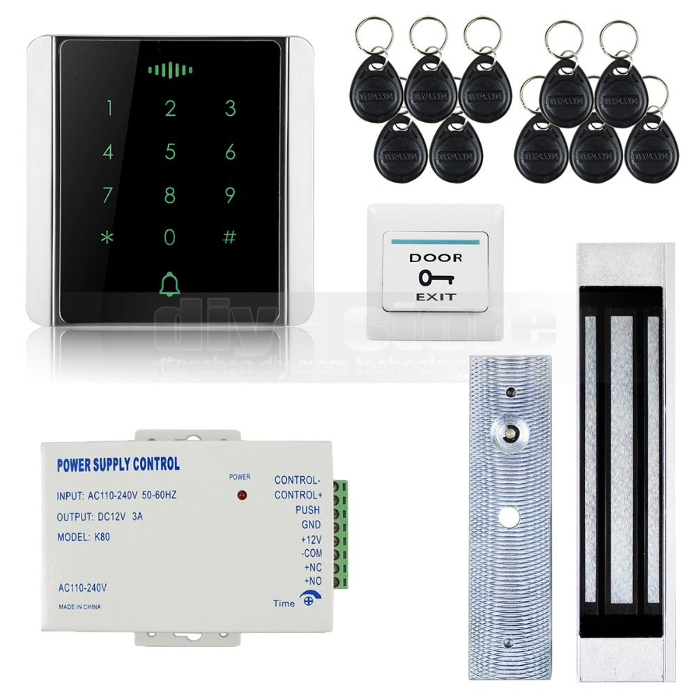 DIYSECUR 125KHz RFID Reader Password Keypad + Magnetic Lock Door Access Control Security System Kit 8000 User diysecur electric lock waterproof 125khz rfid reader password keypad door access control security system door lock kit w4