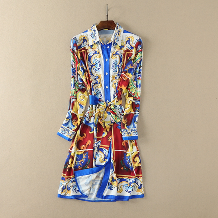 Retro Luxury Dress for Lady 2018 Spring Summer High Quality Printing Turn down Collar Long Sleeve
