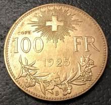1925 suíça 100 francos essai ouro copiar moeda