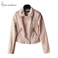 2016 Autumn New Women S Zipper Pink PU Leather Jacket Turn Down Collar Lady Leather Coat