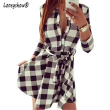 Hot Sale High Quality Casual Plaid Dresses Women's 2017 New Summer Dress Wrist Sleeve Turn Down Collar Dress With Belt Big size