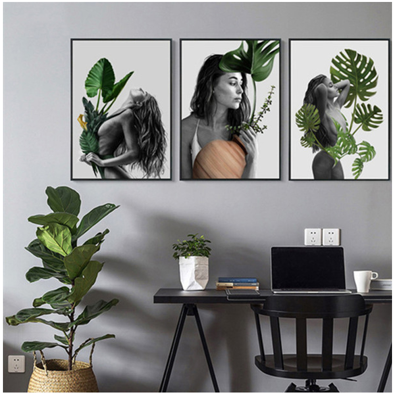 Full Diy square round drill 5d Diamond Painting woman Tropical Plant black and white Diamond Embroidery Wall StickerZP 2534