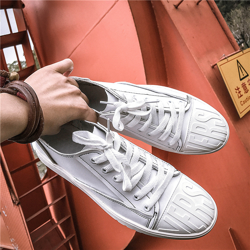 Spring new trend white shoes mens shoes personality toe microfiber leather mens casual shoes ...