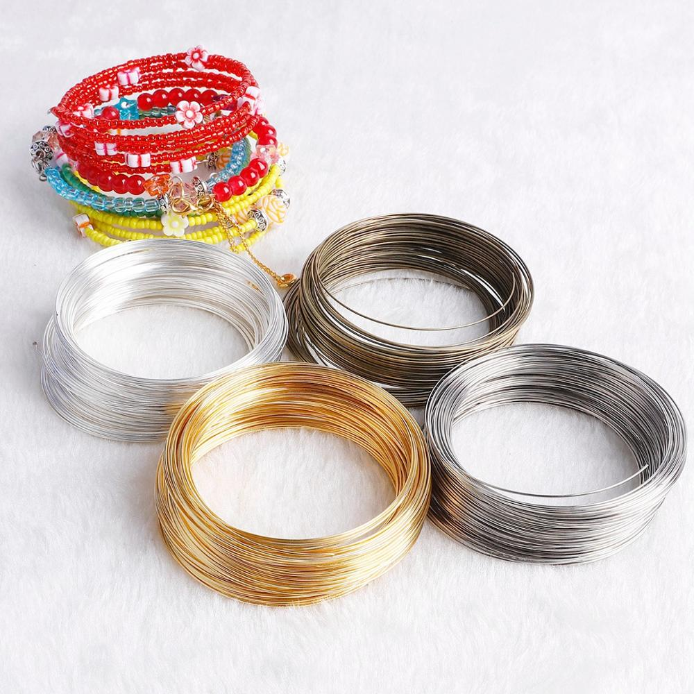 100 círculos/pack 60 Diâmetro mm 0.6 milímetros de Prata de Ouro Memória Beading Fio De Aço Para Fazer Jóias Pulseira Diy Acessórios Brinco