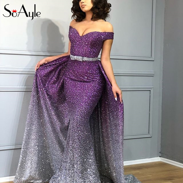 SoAyle Luxurious Colorful Prom Dresses 2018 Sequined Mermaid Prom Dress  Sleeveless Wedding Evening dress vestido de noiva Longo fe162d53bae6