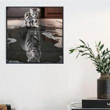 Украшение дома Алмаз Живопись Вышивки Крестом Кошка И Тигр Выкройка Мозаика Вставки Горный