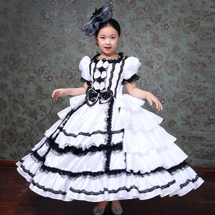 Freeship children's girls black/white ruffled rococo medieval dress royal princess stage renaissance gown  cosplay venice cos
