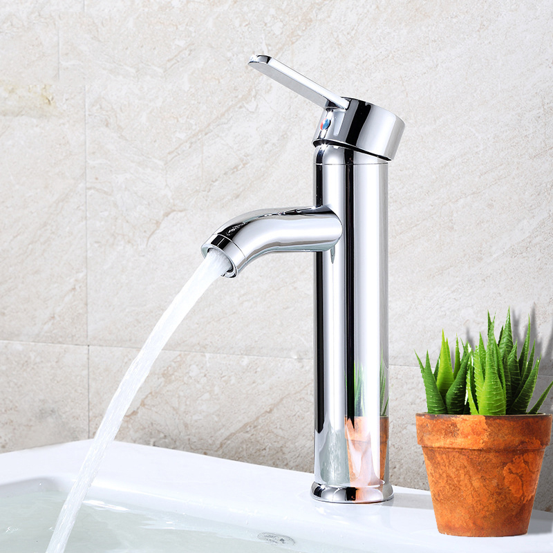 Free Shipping Vessel Waterfall Brushed Nickel Bathroom Sink Faucet One Hole Handle Mixer Tap Bathroom Accessories