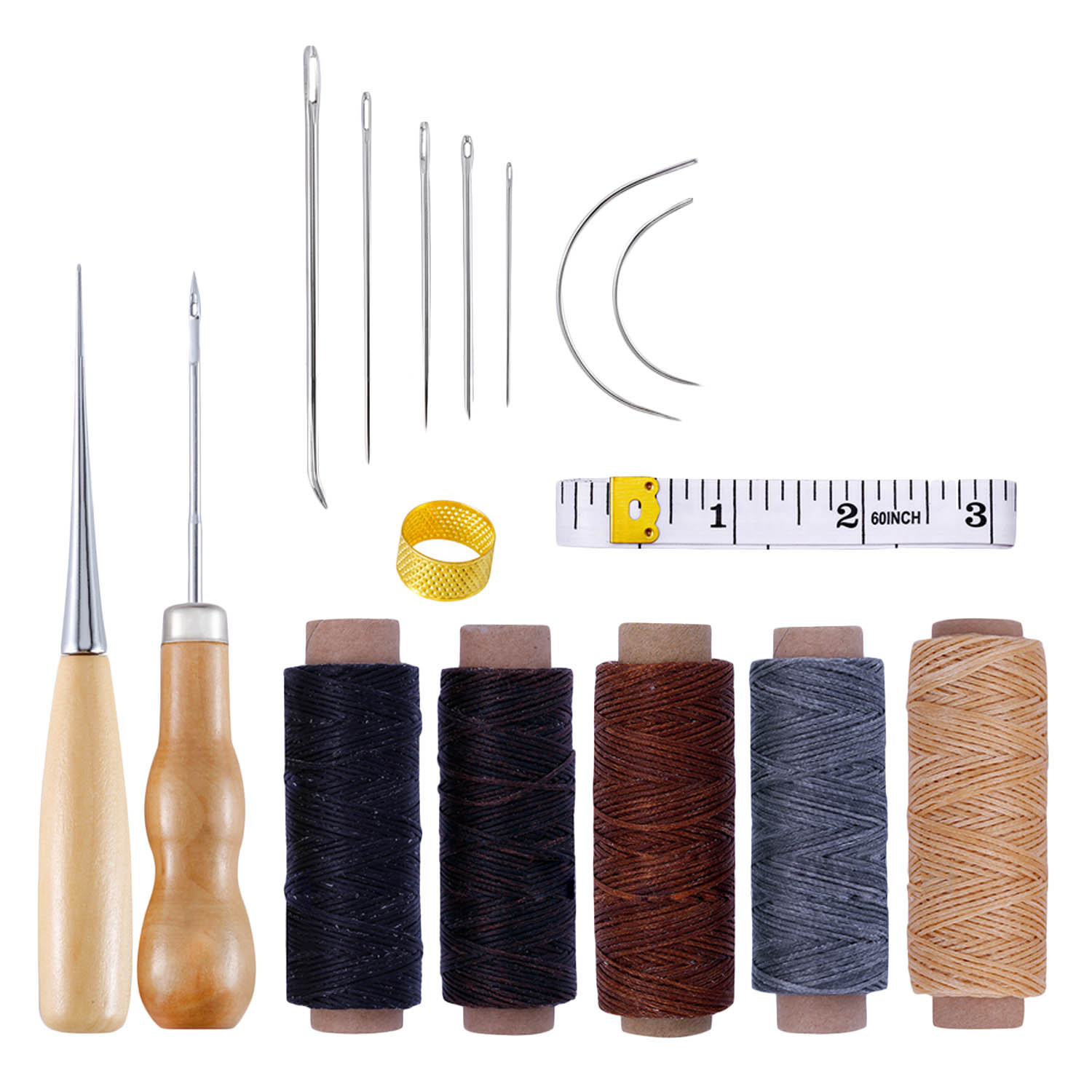 16pcs Leather Craft Stitching Tools Set with Hand Sewing Needles Awl Thimble Waxed Thread for DIY Leathercraft Sewing image