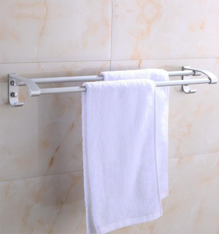 New Hot Sale Towel Para Banheiro Bathroom Accessories Yutian Space Aluminum Towel Rack In Double Hanging Parallel Bars bathroom towel rack space aluminum bathroom hanging racks hotels folded bar hook