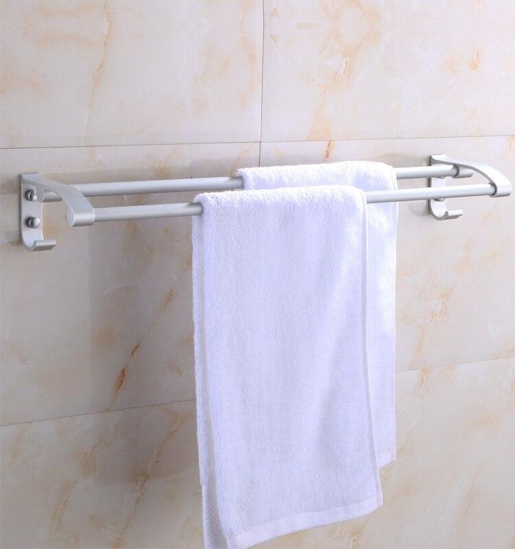 Nueva venta caliente de la toalla para banheiro baño Accesorios yutian  toallero aluminio del espacio en doble colgante Barras paralelas f38078fd6b17