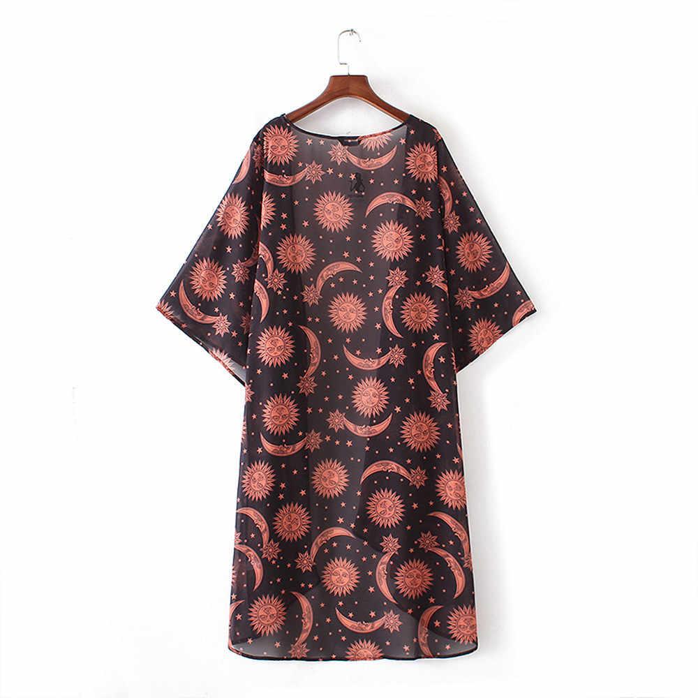 2019 แฟชั่น Kimono Cardigan Casual Kimono Mujer พิมพ์ดวงจันทร์ดวงอาทิตย์ดอกไม้ฤดูร้อนผู้หญิงเสื้อเชิ้ตเสื้อ Camiseta Mujer