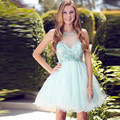 2016 New Pretty Girl's Tulle Sleeveless Crystal A-Line Short/Mini Dress Formal Gown robe de cocktail Dresses Custom Size
