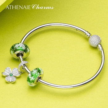 ATHENAIE 925 Sterling Silver Shamrock Hearts Pendant with Green Snowflake Charm Beads Bracelets & Bangles For Women