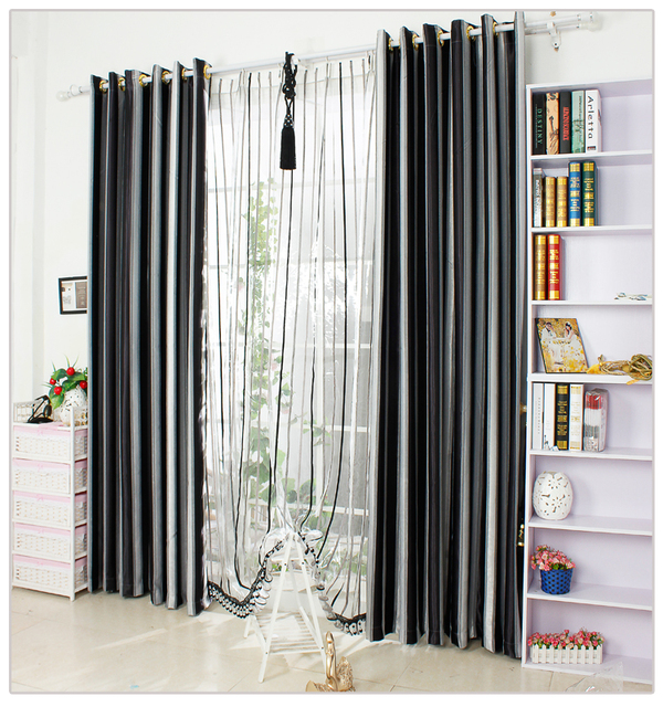 white and black curtains for living room aliexpress buy black and white vertical stripe 27737