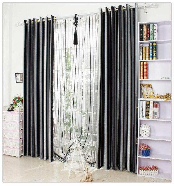 zwart wit verticale streep venster verduisterende gordijnen voor woonkamer beddengoed decoratieve gordijnen cortinas para sala