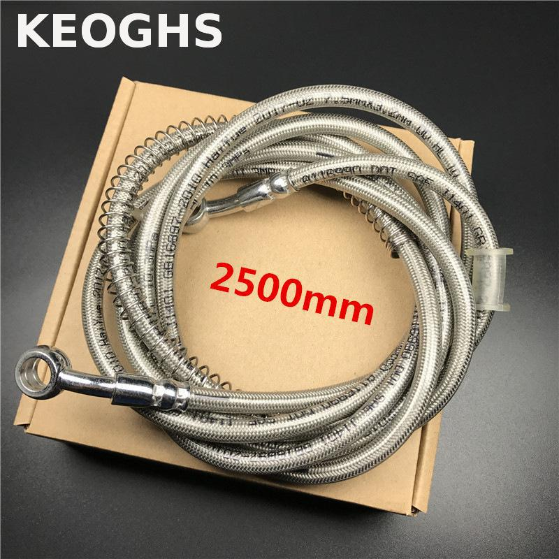 Keoghs 2500mm Motorcycle Brake Hose/pipe/line/cable/tube Steel Braid 28 Degree 10mm Banjo Bolt For Honda Yamaha Kawasaki Suzuki