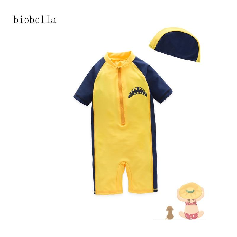 Children Boy 2018 Swimming Swimwea Fashion Yellow Shark Cartoon Long Sleeve Shark Swimsuit Boy Summer Bathing Cute Bathwear