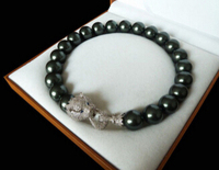 free shipping fancy 20mm black shell pearl inlay zircon leopard head necklace for festival gift