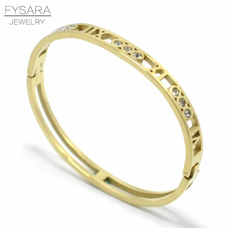 Fysara выдалбливают римская цифра кристаллы Браслеты и Браслеты Jewelry Нержавеющаясталь покрытие вакуум Цвет любовника браслет Для женщин