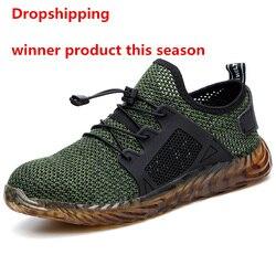 Dropshipping indestrutível ryder sapatos homem e mulher de aço toe botas de segurança ar puncture-proof tênis de trabalho respirável sapatos