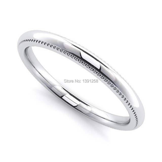 2mm Milgrain Wedding Rings For Women Comfort Fit Palladium Pd500 Pd950 Plain Band Jewellery Lady
