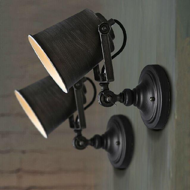 American Industrial Vintage Wall Lamp Iron Adjustable Light Coffee Shop  Light Balcony Light Bars Light 110v