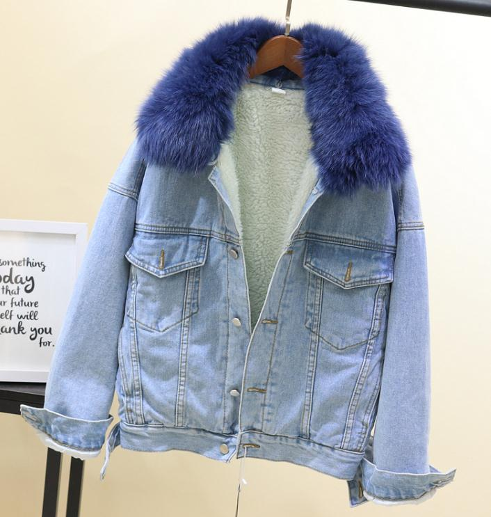 Vestes Outwear Ciel Réel Laine Col Jean De Femmes Manteau Hiver Chaud Épais Filles Pu gris Étudiants Fourrure Veste rose Denim blanc 2018 Doublure Fox Agneau or 8nqHI1vw