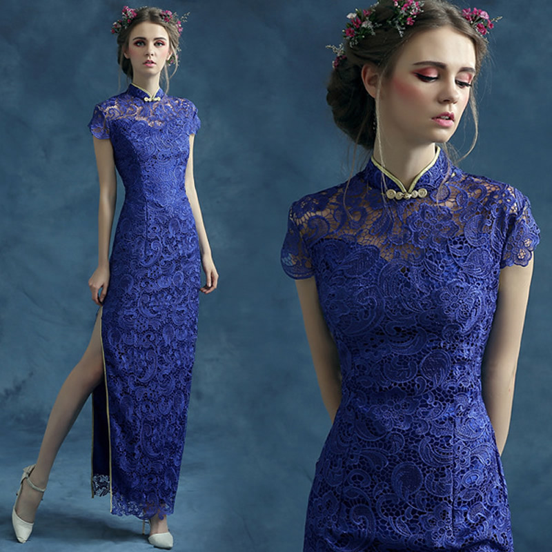 17bfac3ce7c0 2016 Fashion Royal Blue Lace Cheongsam Dress Long Qipao Dresses ...