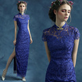 2016 Fashion Royal Blue Lace Cheongsam Dress Long Qipao Dresses Chinese Traditional Dress Vestido De Festa Sexy Chinese Dresses