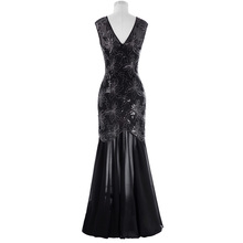 Kate Kasin Cap Sleeve Sequins Evening Dress