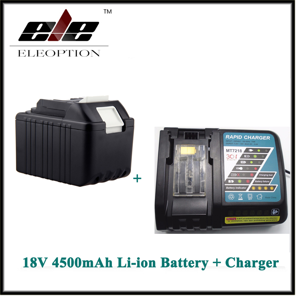 Eleoption Rechargeable Power Tool battery for Makita 4500mAh 18V Li-ion BL1830 LXT400 194205-3 194230-4 BL1840 Battery + Charger bl1840 electric drill battery 18v 4000mah for makita 194205 3 194309 1 bl1845 bl1830 bl1445 bl1460 18v 4 0ah li ion battery