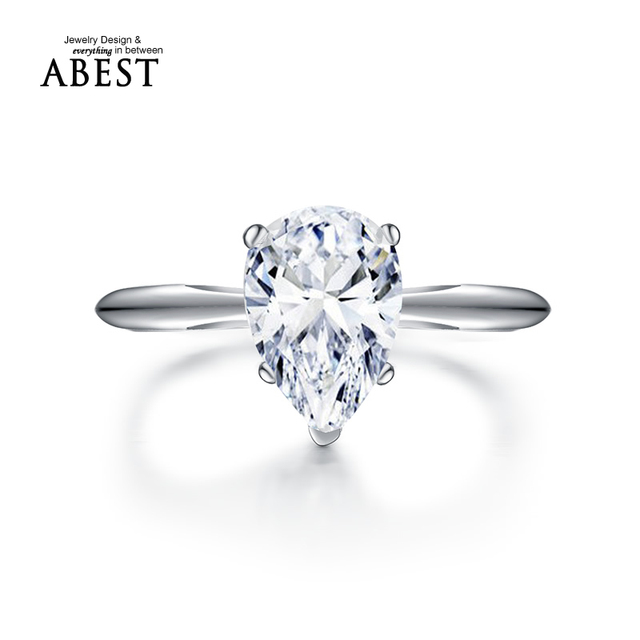 2 Carat Pear Shape Diamond Ring Setting Ring Jewelry 925 Silver Platinum Plated Sona Simulated Diamond Engagement Wedding Ring