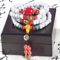Sennier 9mm 108 lotus bodhi seed beads bracelet buddha prayer japa necklace Tibetan buddhist meditation yoga tool free ship