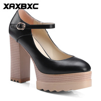 XAXBXC 2018 Spring Retro British Style Buckle Strap High Heels Platform Large Size Women Shoes Handmade