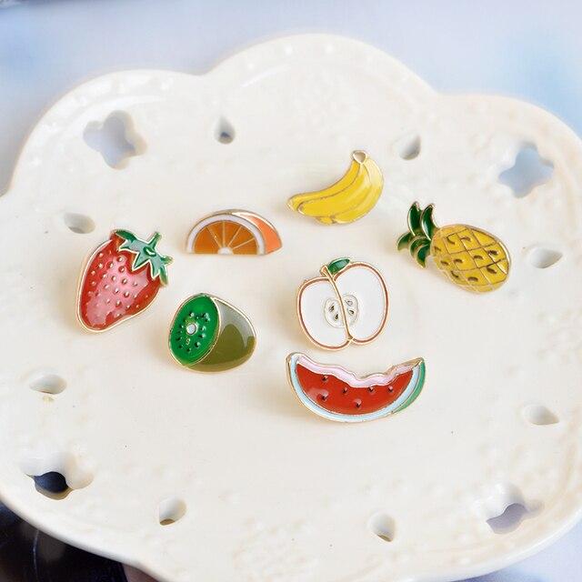 Buah Enamel Pin Pisang Strawberry Semangka Kiwi Apple Orange Pine Apple Bros Tombol Pins Lencana Kartun Perhiasan Hadiah