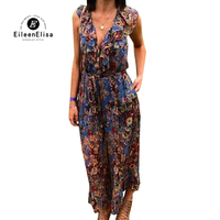 Summer Jumpsuits Rompers Ladies Jumpsuits For Women 2018 Floral Printed Jumpsuits Vacation Sleeveless Wide Leg Jumpsuit
