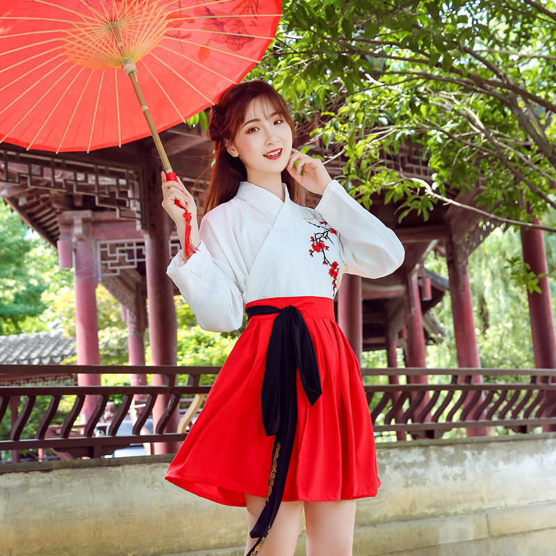Hanfu Costume Dress Women Improved Hanfu Daily Short Sleeve Hanfu Embroidered Crossdresses Costumes Han Elements Student Set 25