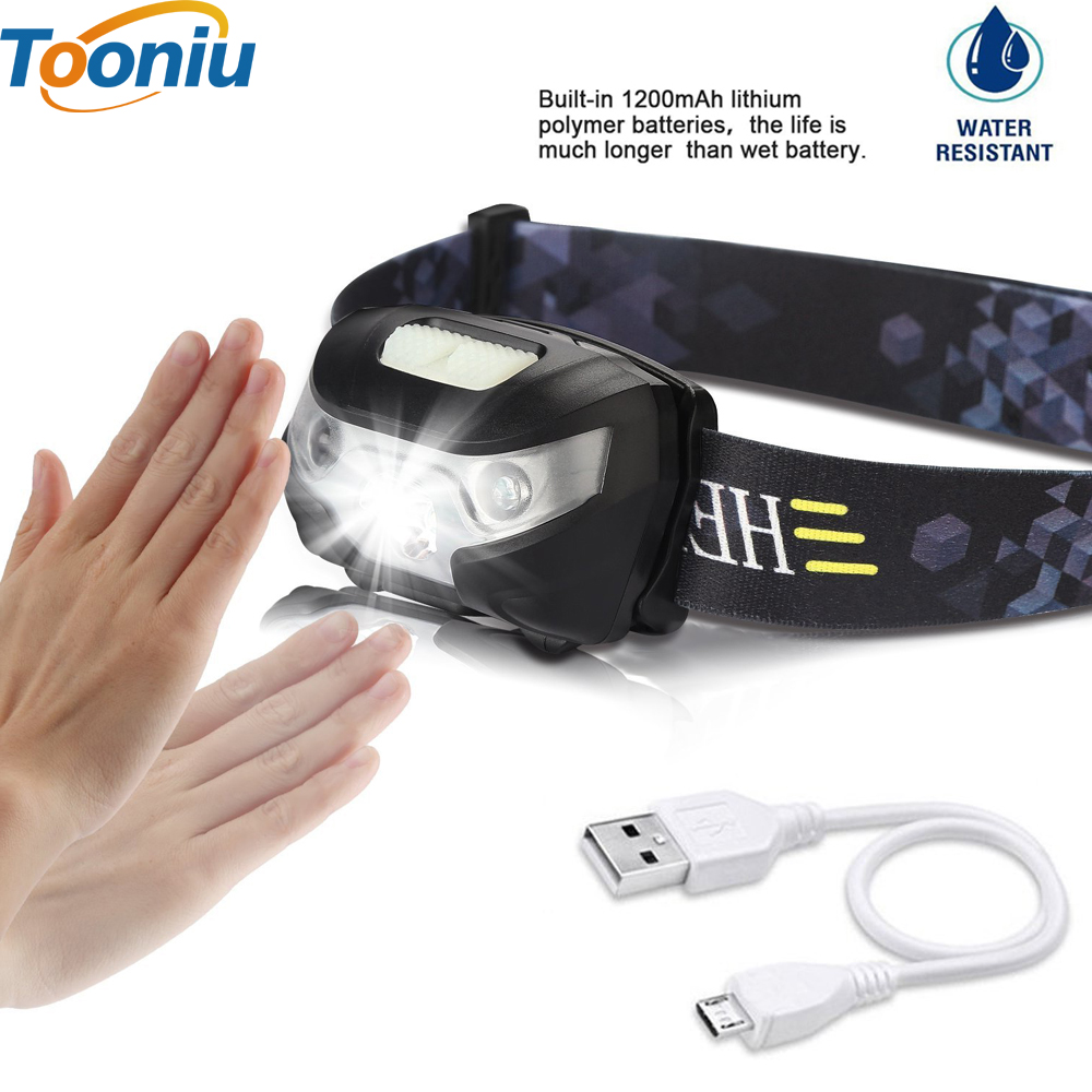 Tooniu Mini Rechargeable 5W LED HeadLamp Body Motion Sensor LED Bicycle Head Light Lamp Outdoor Camping