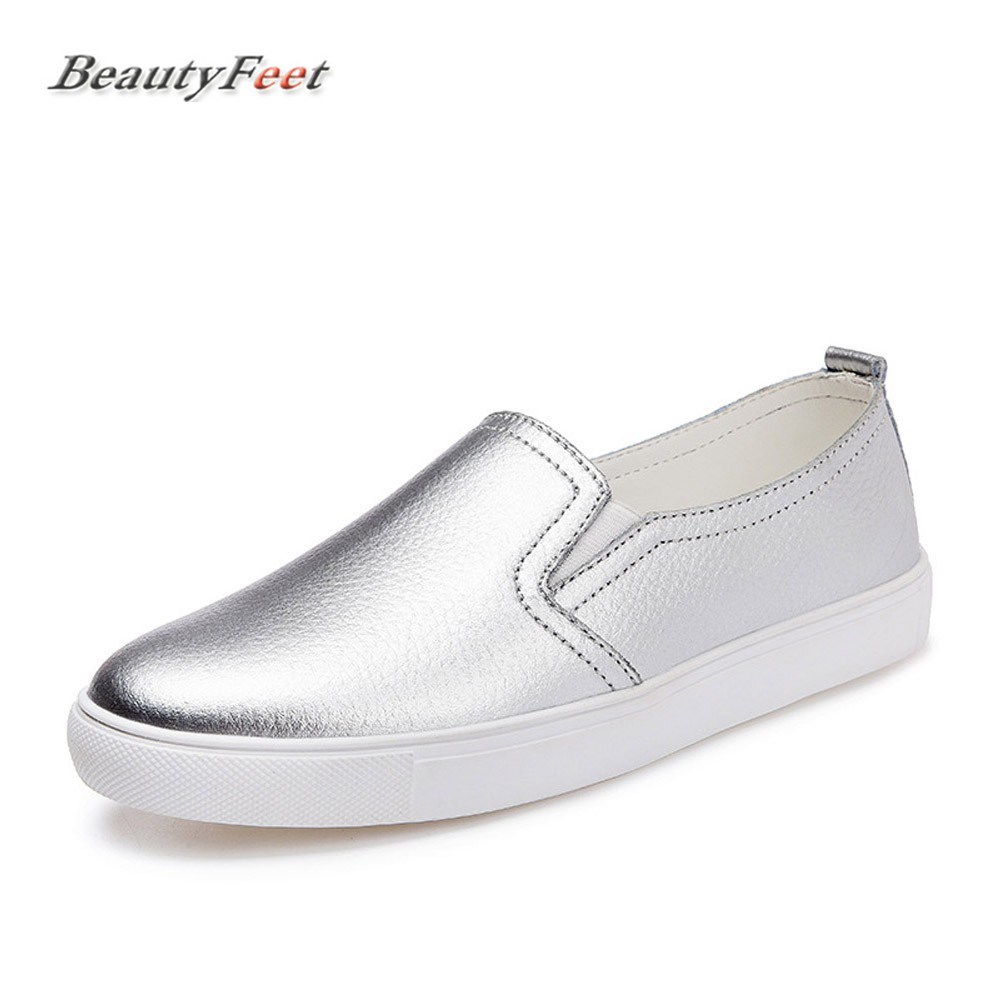 BeautyFeet 2018 Autumn New Women Leather Loafers Fashion Ballet Flats Sliver White Black Shoes Woman Slip on Loafers Boat Shoes