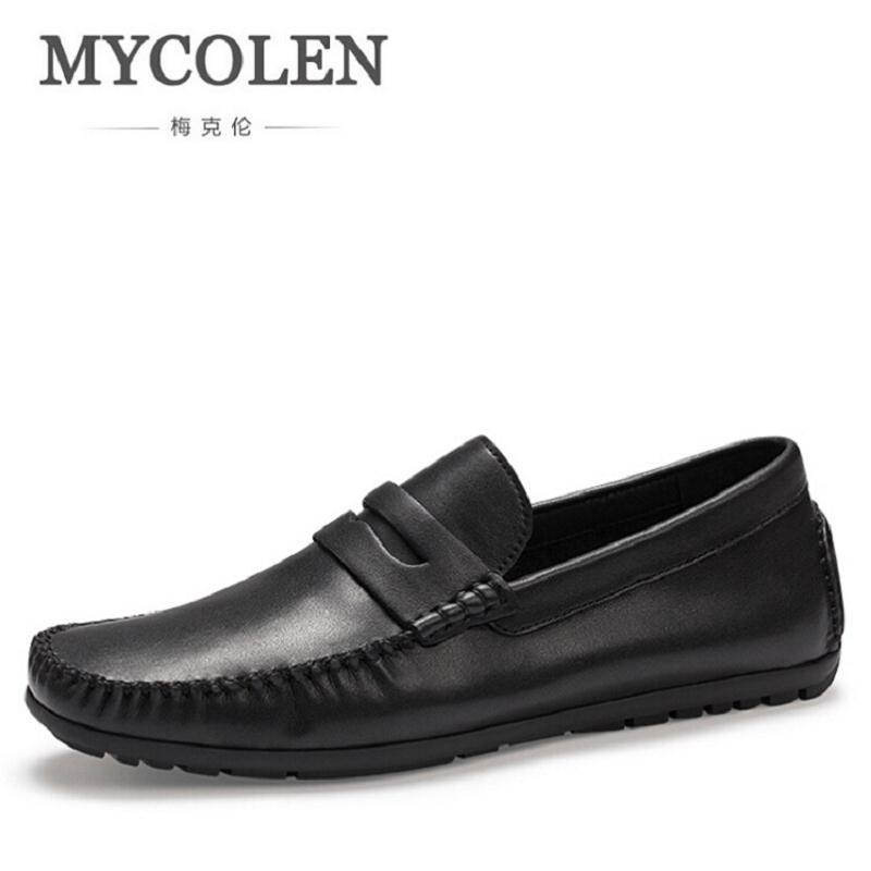MYCOLEN Designer Casual Slip On Driving Shoes Brand Autumn Moccasins Soft Leather Black Flat Loafers zapatos de los hombres mycolen men loafers leather genuine luxury designer slip on mens shoes black italian brand dress loafers moccasins mens
