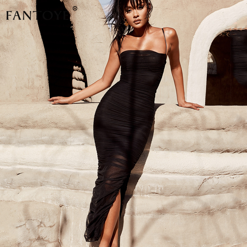 Fantoye Ruched Sheer <font><b>Sexy</b></font> <font><b>Party</b></font> Dress Women <font><b>2018</b></font> Strapless Slit Long Maxi Dress Elgant Summer Autumn Bodycon <font><b>Club</b></font> Wear Vestidos image