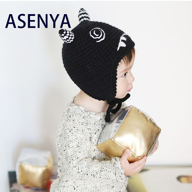 c0c7402486849 ASENYA cute NOVELTY monster design accessori capelli winter hats for  children made by hands