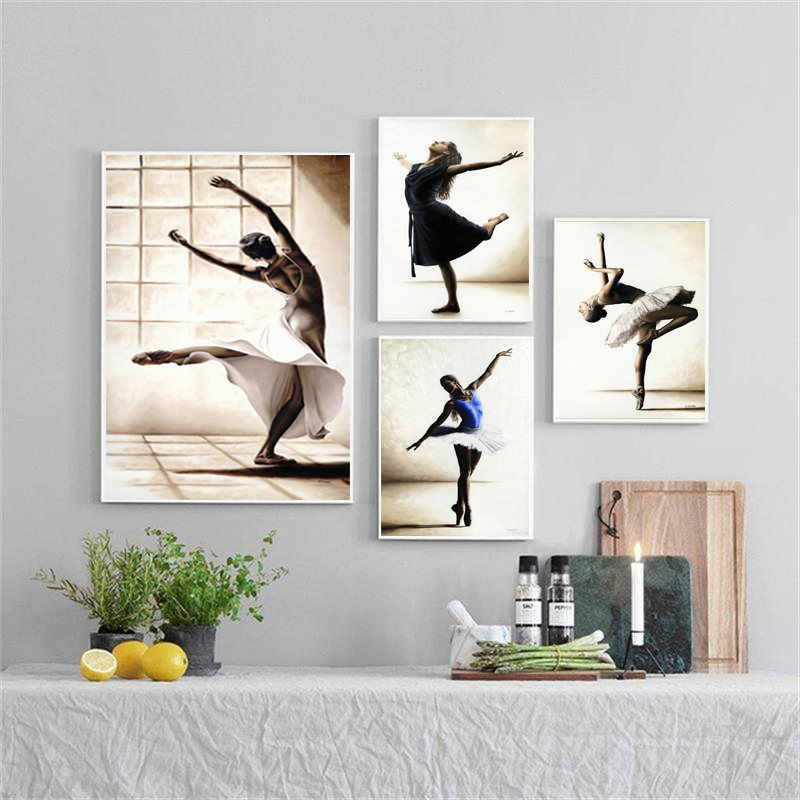 Ballet Dance Girl Picture Home Decor Nordic Canvas Art Painting Wall Art Print Drawing Posters Decor Pating for Girls Bedroom