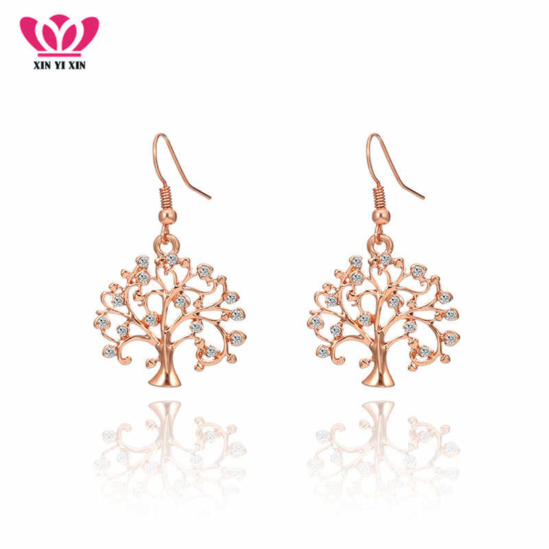 Tree of life Drop Earrings Clear Crystal Earring For Women Silver Rose Gold Color Women Alloy Fashion Jewelry Dropshipping 2018