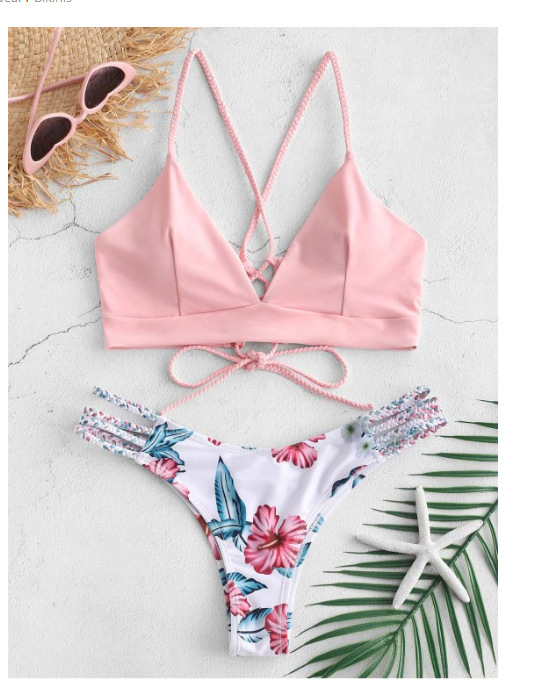 Solid Color   Bra   With Print Panty   Set   Sexy Solid Lace Up   Bra     Set