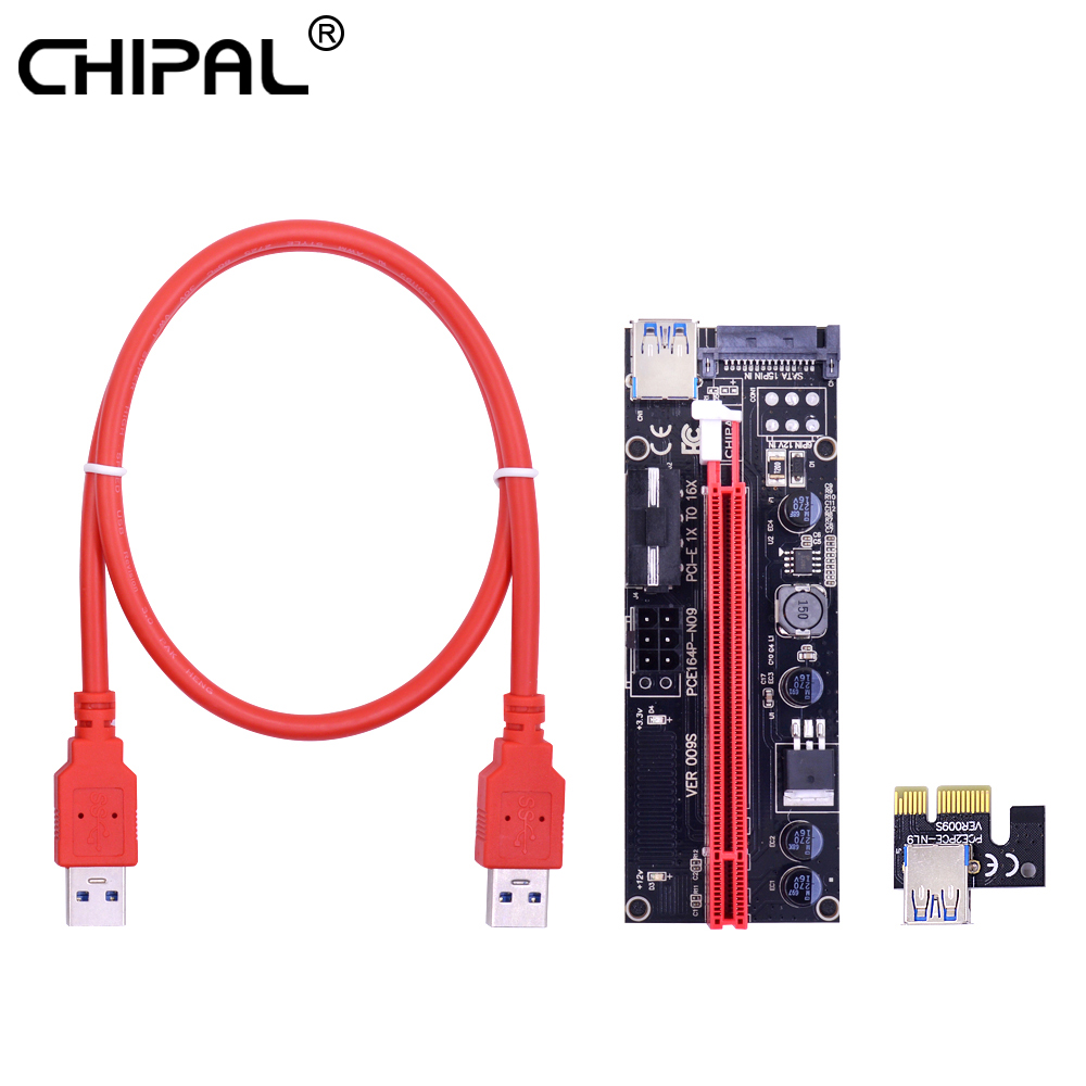 CHIPAL VER009S 009S PCI-E Райзер-карта PCI Express 1X до 16X 4Pin 6Pin SATA Molex Power 60 см USB 3,0 кабель для майнинга ETH EOS BTC