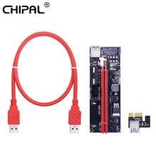 Chipal ver009s 009s pci-e riser cartão pci express 1x a 16x 4pin 6pin sata molex power 60cm cabo usb 3.0 para eth eos btc mineração