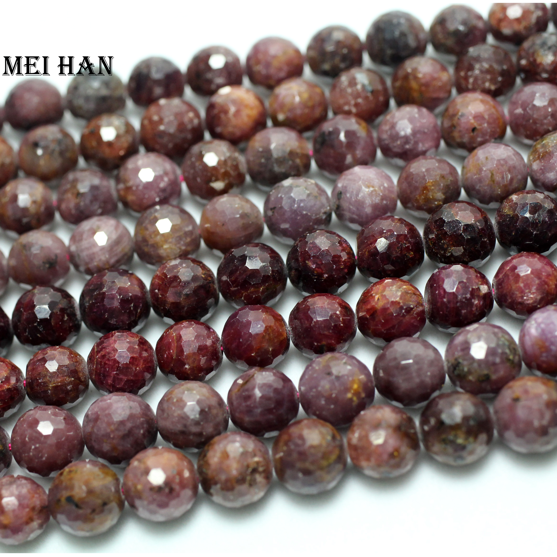 Free shipping 9 5 10 5mm 37 pcs 77g set natural stone ruby faceted round beads