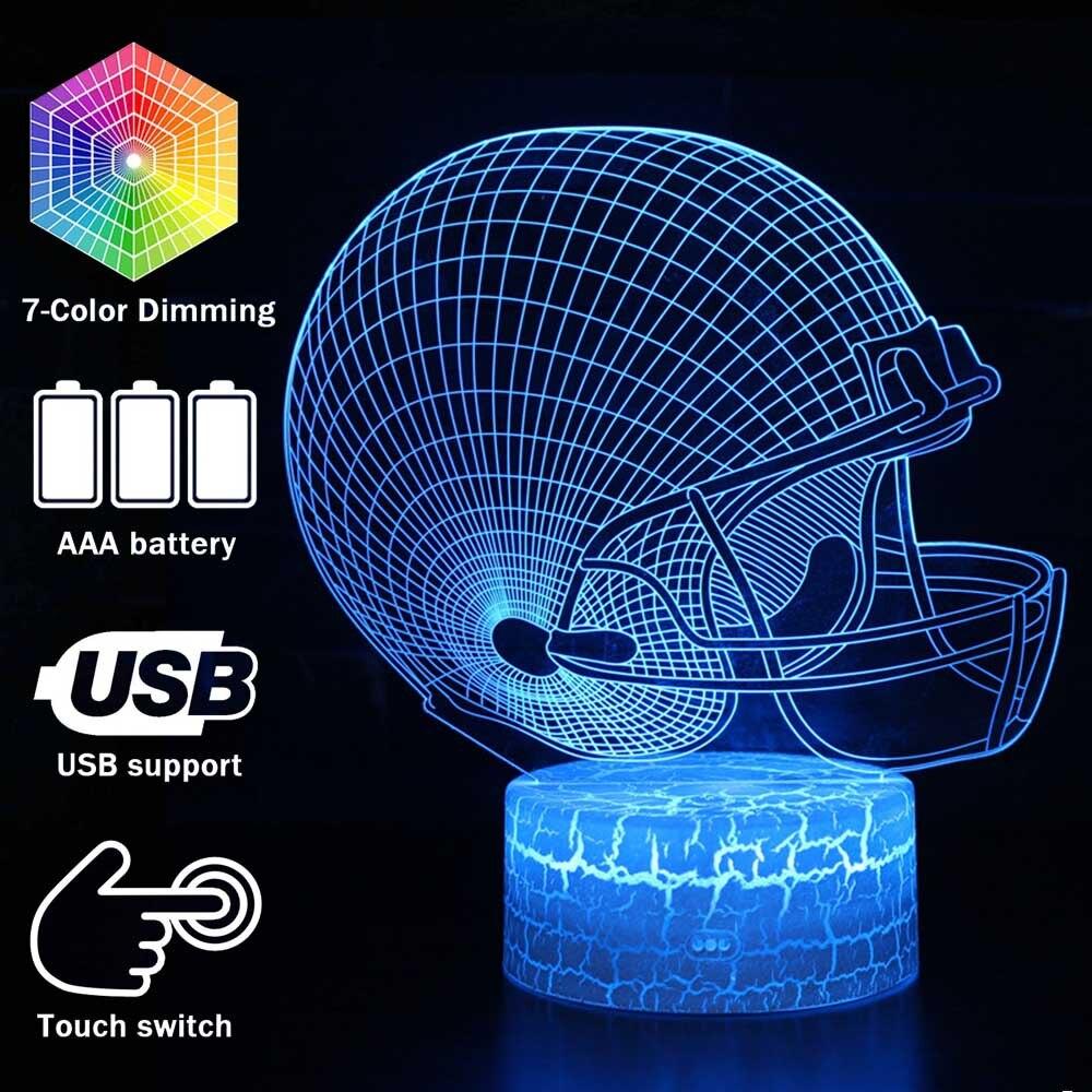 Magiclux Novelty Lighting 3D Illusion LED Lamp Football Helmet Model Night Lights For Kids Bedroom Decoration Creative Gift